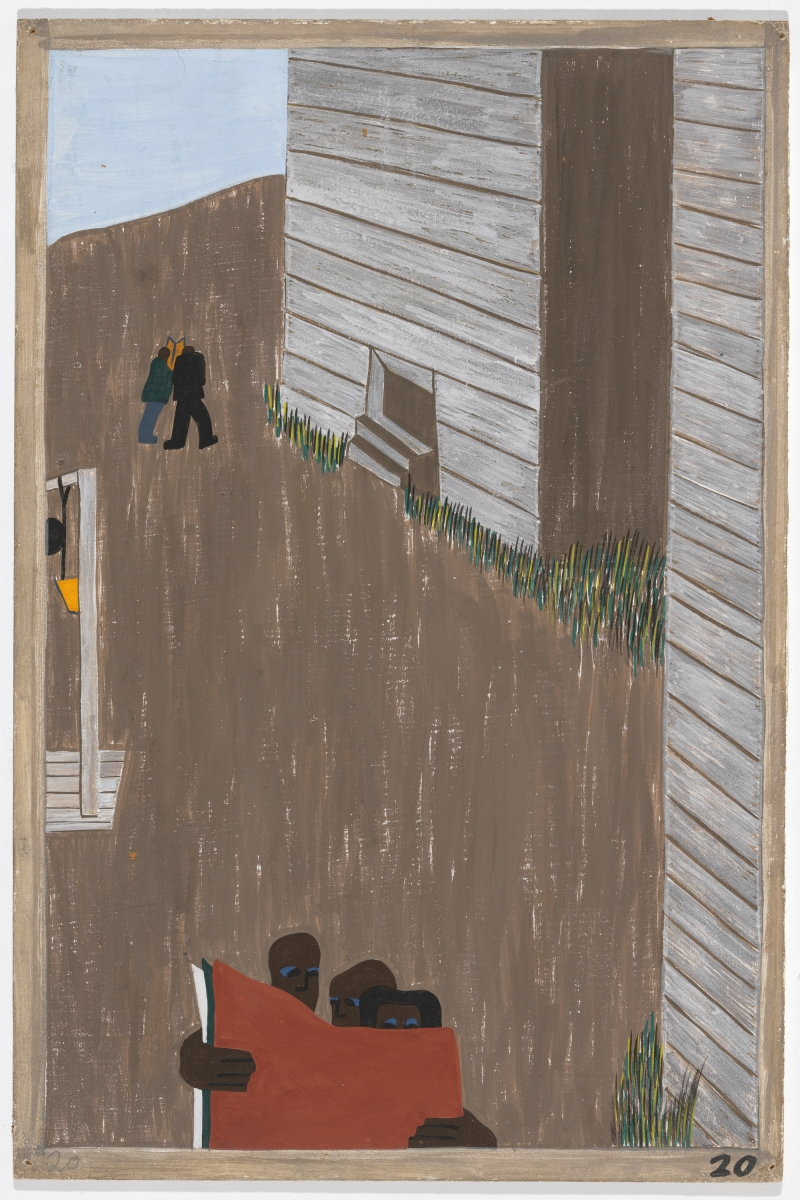 "Jacob Lawrence, Panel 20 from ""The Migration Series,"" 1941. 1941 caption: In many of the communities the Negro press was read continually because of its attitude and its encouragement of the movement. 1993 caption: In many of the communities the Black press was read with great interest. It encouraged the movement."