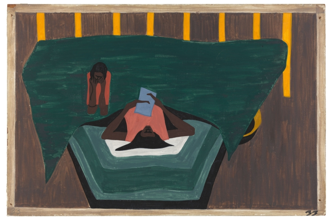 "Jacob Lawrence, Panel 33 from ""The Migration Series,"" 1941. 1941 caption: People who had not yet come North received letters from their relatives telling them of the better conditions that existed in the North. 1993 caption: Letters from relatives in the North told of the better life there."
