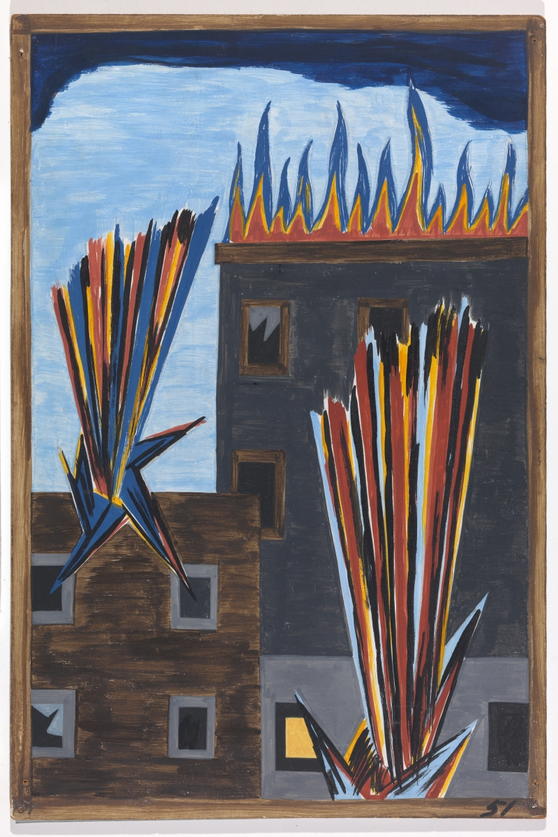 "Jacob Lawrence, Panel 51 from ""The Migration Series,"" 1941. 1941 caption: In many cities in the North where the Negroes had been overcrowded in their own living quarters they attempted to spread out. This resulted in many of the race riots and the bombings of Negro homes. 1993 caption: African Americans seeking to find better housing attempted to move into new areas. This resulted in the bombing of their new homes."