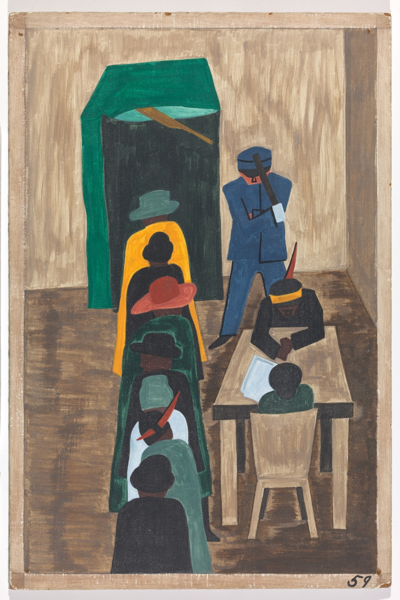 "Jacob Lawrence, Panel 59 from ""The Migration Series,"" 1941. 1941 caption: In the North the Negro had freedom to vote. 1993 caption: In the North they had the freedom to vote."