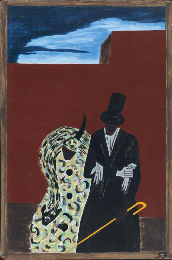 """Jacob Lawrence, Panel 53 from """"The Migration Series,"""" 1941.  1941 caption: The Negroes who had been North for quite some time met their fellowmen with disgust and aloofness. 1993 caption: African Americans, long-time residents of northern cities, met the migrants with aloofness and disdain."""