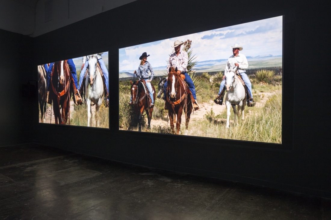 Installation view: Teresa Hubbard / Alexander Birchler, Movie Mountain (Méliès), 2011.