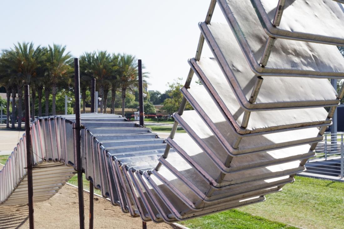 Noah Purifoy, 65 Aluminum Trays (detail), 2002.