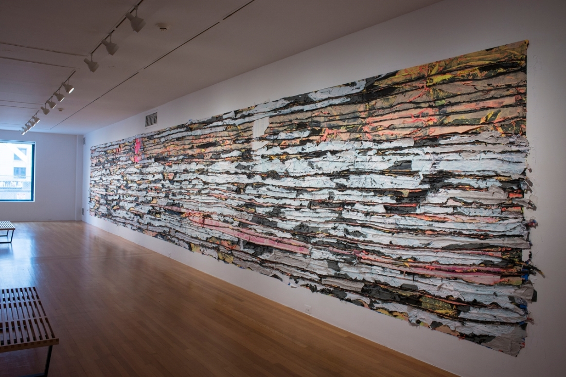 Mark Bradford, Pull Painting 1, 2015. [Installation view at Wadsworth Atheneum, Hartford, Conn.]