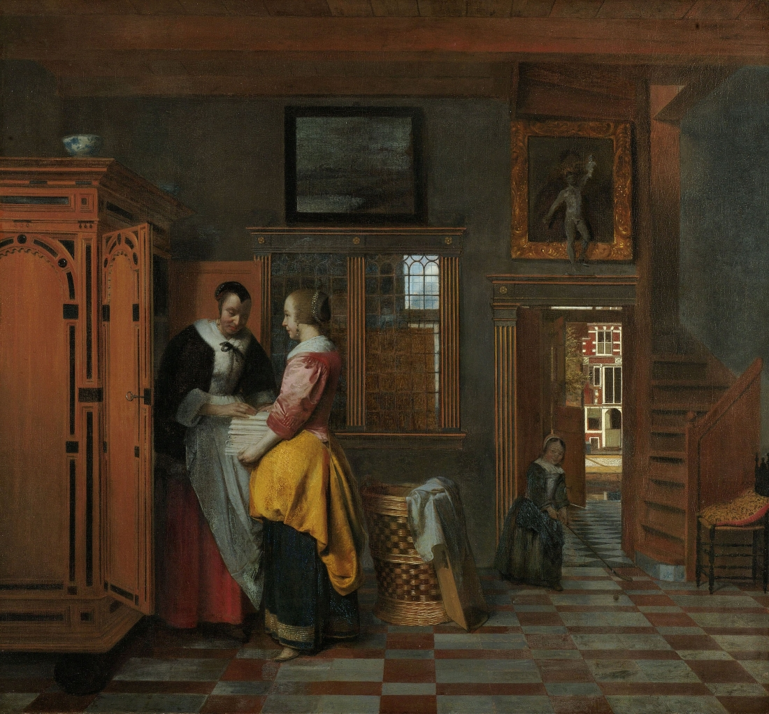 Pieter de Hooch, Interior with Women beside a Linen Cupboard, 1663.