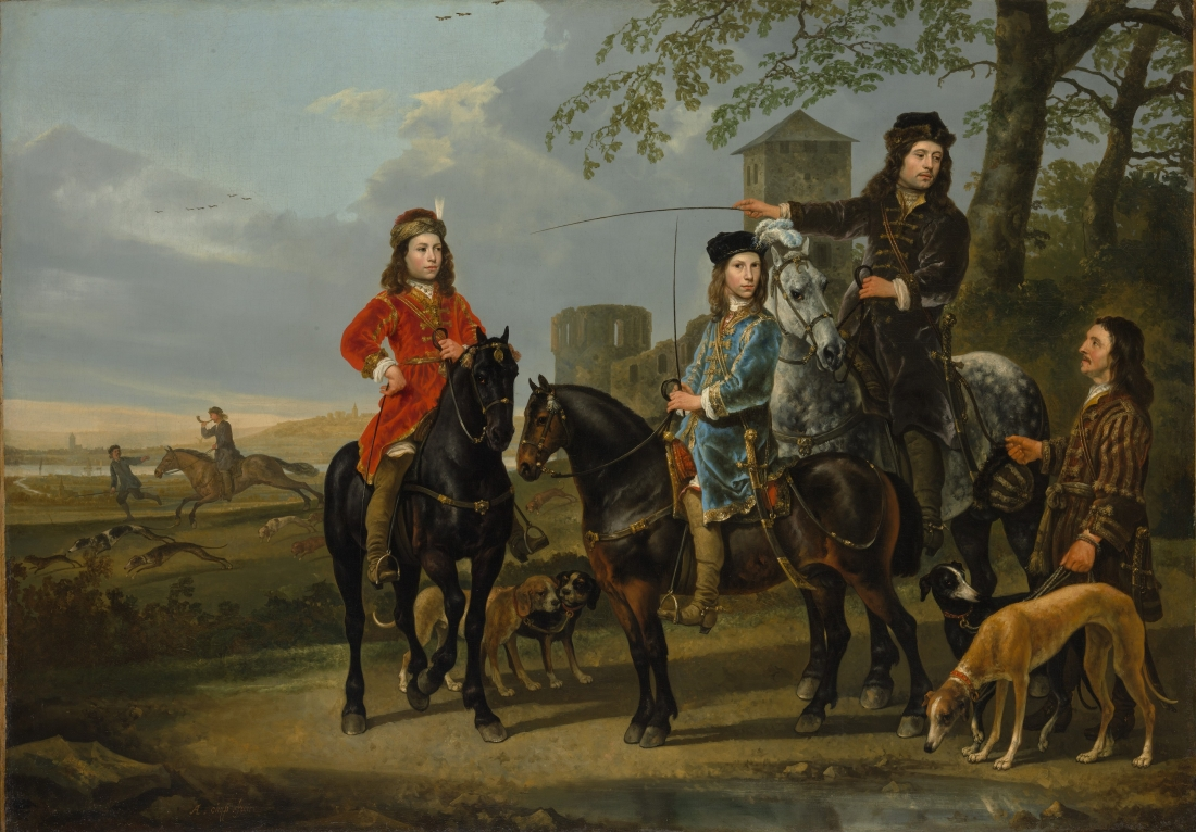 Aelbert Cuyp, Equestrian Portrait of Cornelis and Michiel Pompe van Meerdervoort with Their Tutor and Coachman, 1652-53.