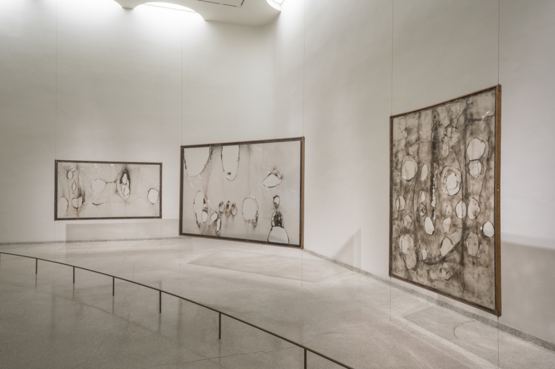 "Installation view, ""Alberto Burri: The Trauma of Painting,"" Solomon R. Guggenheim Museum."