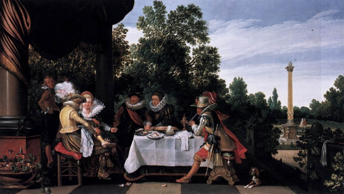 Esias van de Velde, Merry Company Banqueting on a Terrace, 1620.