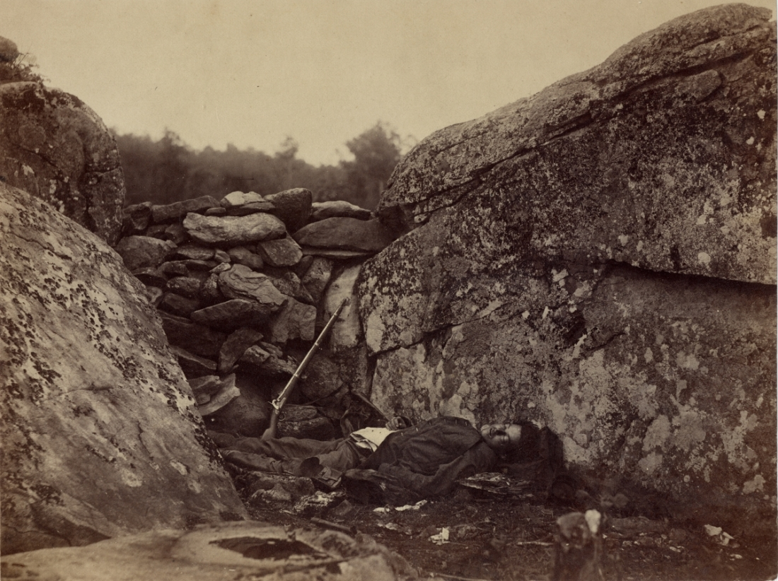Alexander Gardner, Home of a Rebel Sharpshooter, July, 1863.