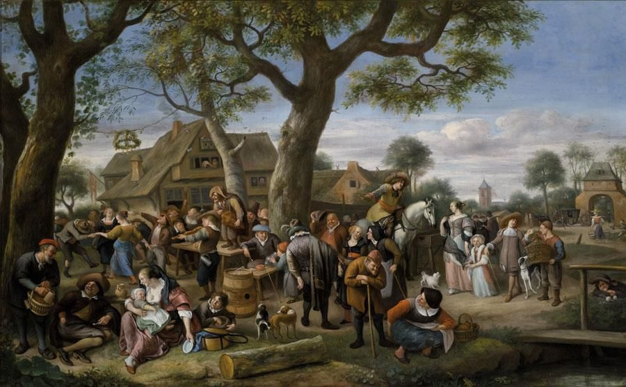 "Jan Steen, Peasants Merry-Making outside an Inn, known as ""The Fair at Warmond,"" ca. 1676."