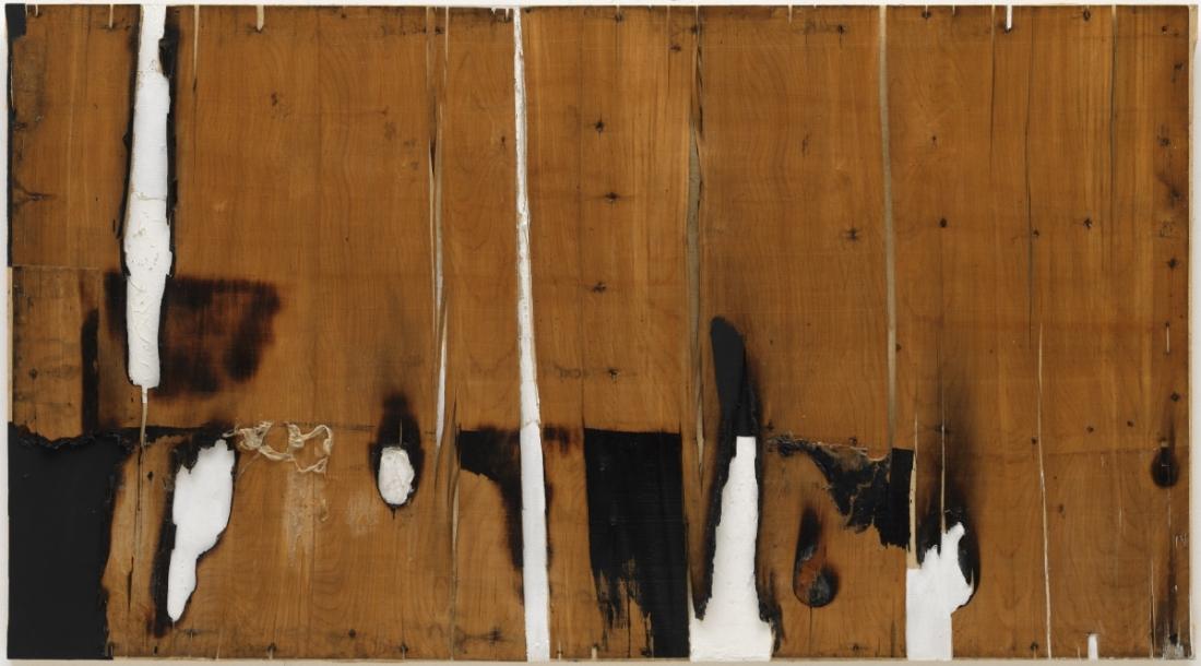 Alberto Burri, Legno e bianco I (Wood and White I), 1956.