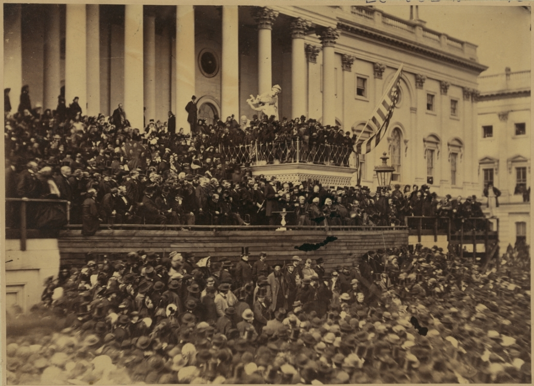 Alexander Gardner, Abraham Lincoln delivering his second inaugural address as President of the United States, Washington, DC, 1865.