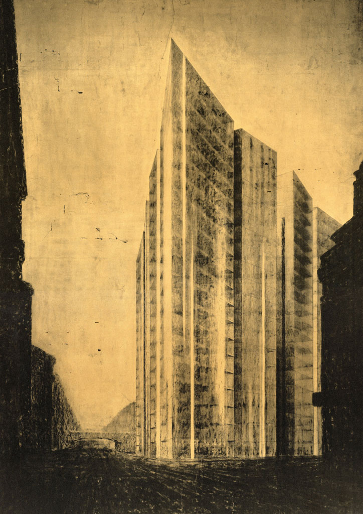 Mies van der Rohe, Friedrichstrasse Skyscraper Project, Perspective of Northeast Corner, 1921.