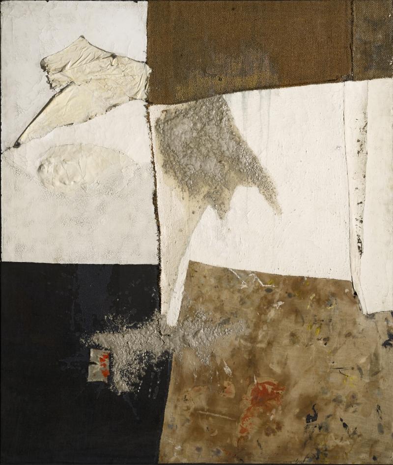 Alberto Burri, Nero bianco e sacco (Black White and Sack), ca. 1954.