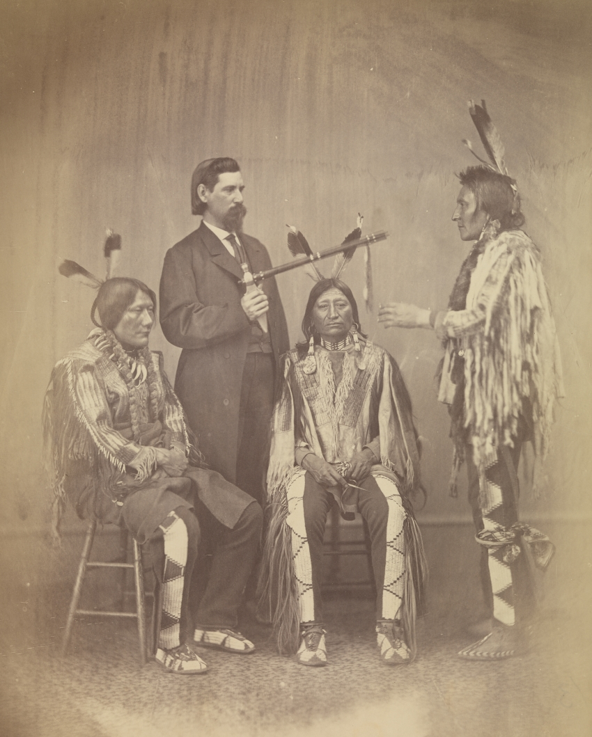 Alexander Gardner, Lakota delegates Medicine Bull, Iron Nation and Yellow Hawk with their interpreter, Washington, DC, 1867.