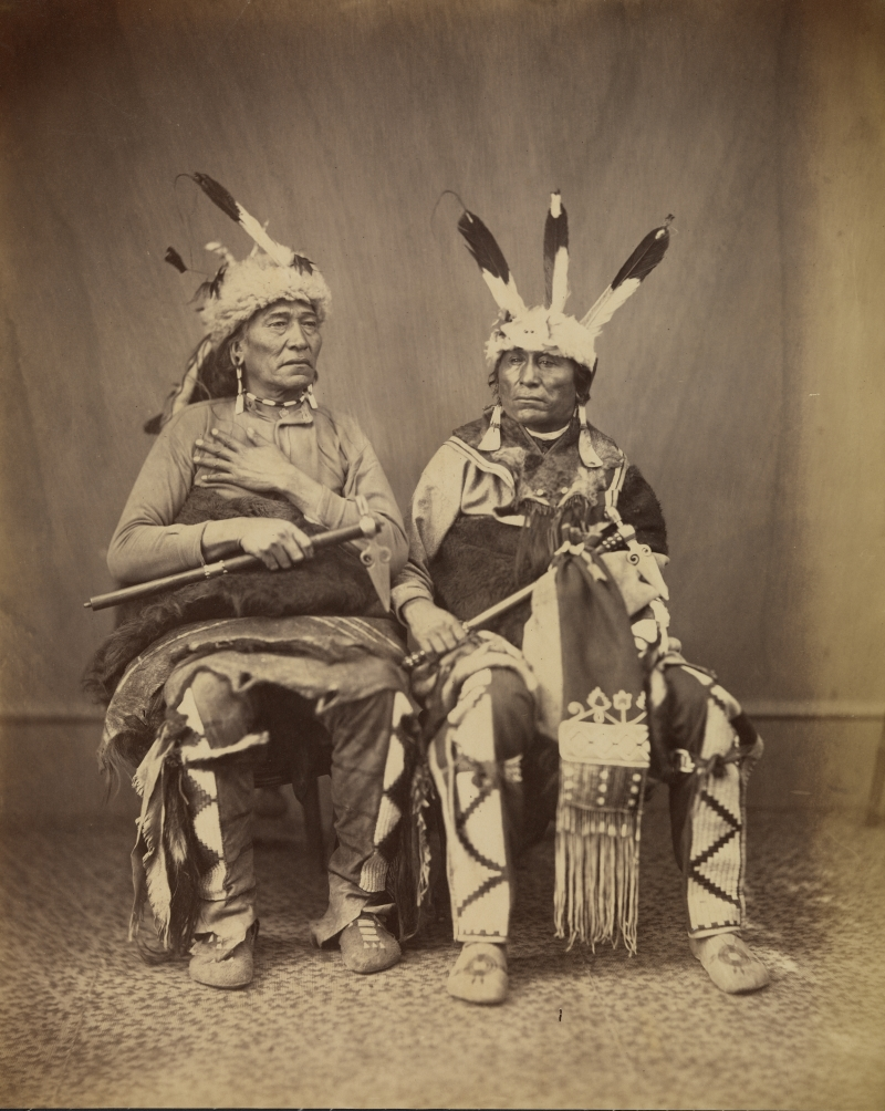 Alexander Gardner, Ihanktonwan Nakota delegates Long Foot and Little Bird, Washington, DC, 1867.
