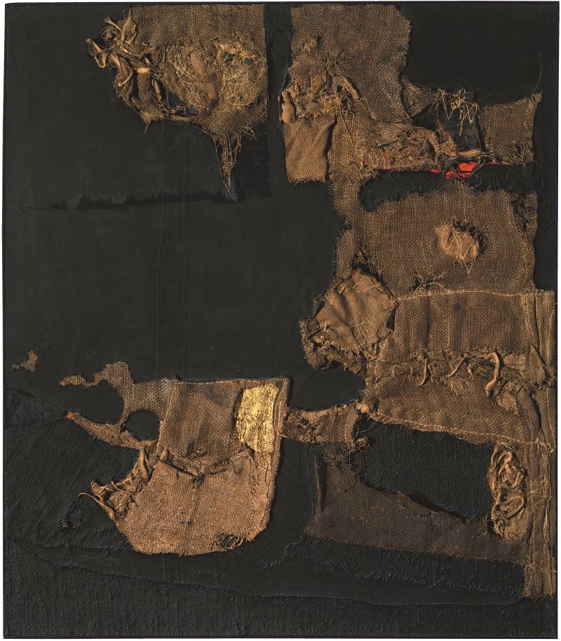 Alberto Burri, Sacco e oro (Sack and Gold), 1953.