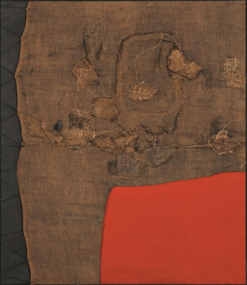 Alberto Burri, Sacco e rosso (Sack and Red), ca. 1959.