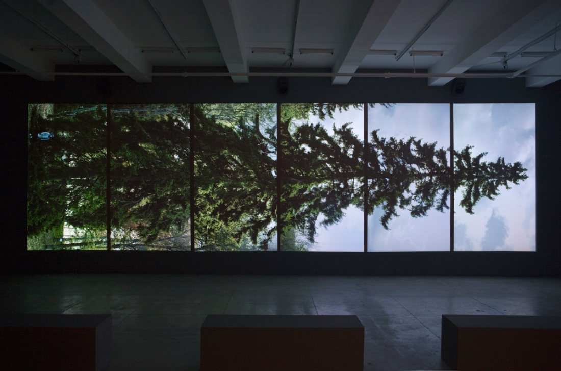 Eija-Liisa Ahtila, Vaaksauora -- Horizontal [installation view], 2011.