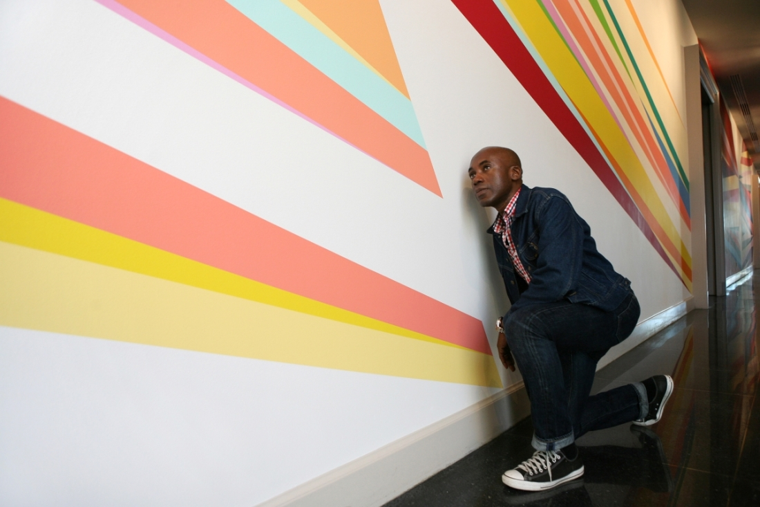 Installation view of Odili Donald Odita's Forever, 2015, at the New Orleans Museum of Art.