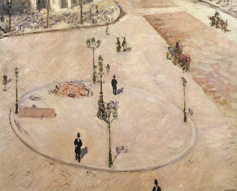 Gustave Caillebotte, Traffic Island on Boulevard Haussmann, 1880.