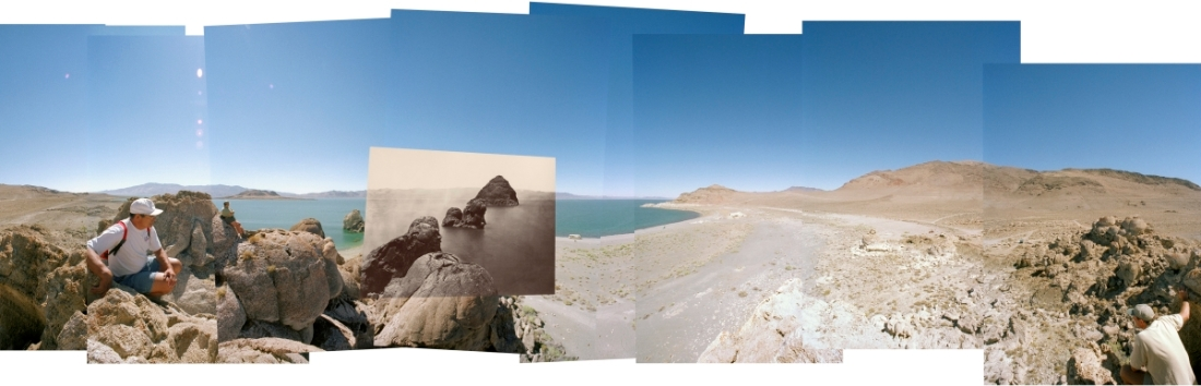 Byron Wolfe and Mark Klett for the Third View Project, Panorama from O'Sullivan's Pyramid Lake Camera Position, 2000.