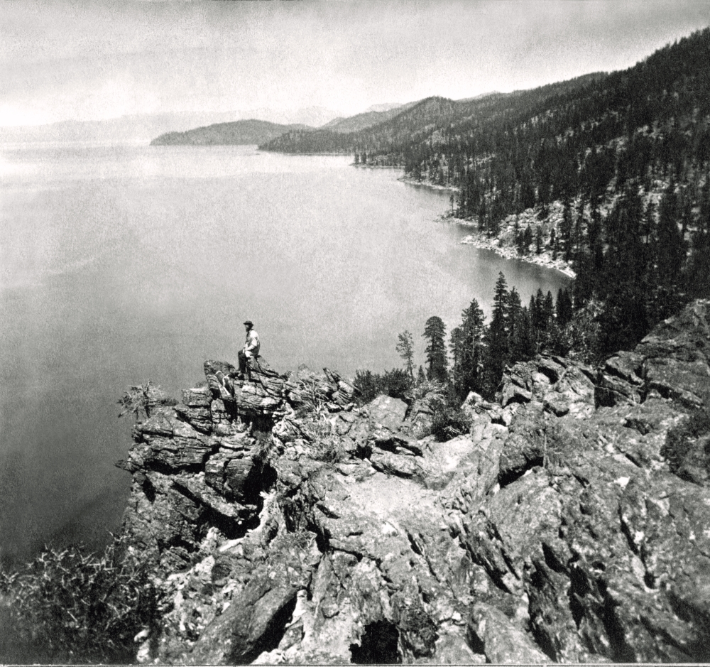 Charles Leander Weed, View from the Top of Cave Rock -- Eastern Shore of Lake Tahoe, Looking North, ca. 1862-64.