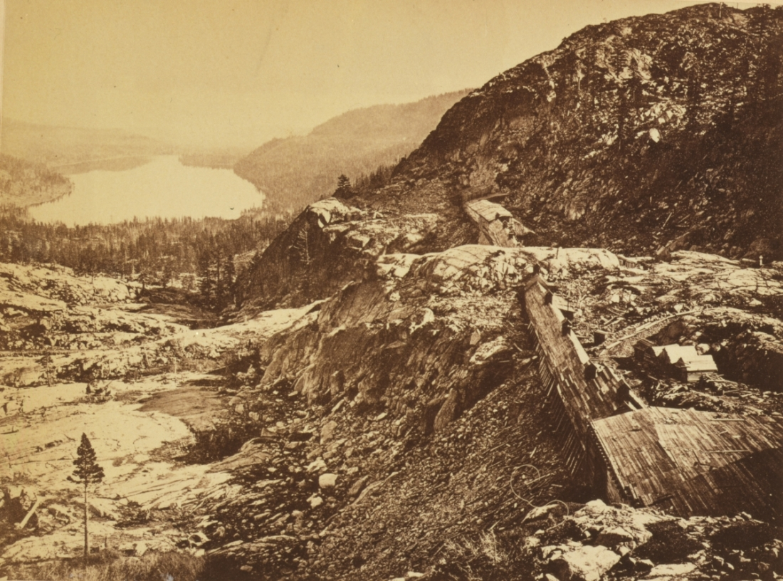 Andrew J. Russell, Summit of Sierra Nevada -- Snow Sheds in FOreground, Donner Lake in the Distance, Central Pacific RR, 1868.