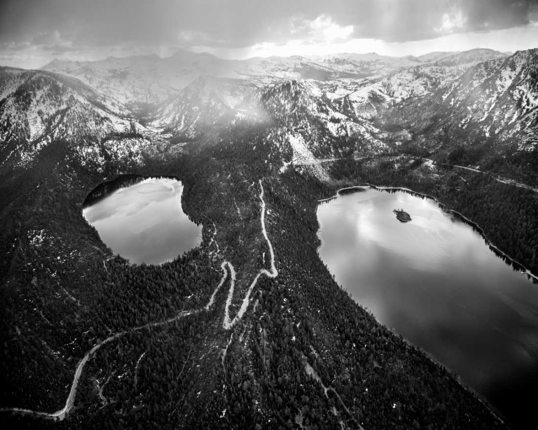 Michael Light, Highway 89, Cascade and Emerald Lakes and Mount Tallac Beyond, Looking Southwest, South Lake Tahoe, CA, 2014.