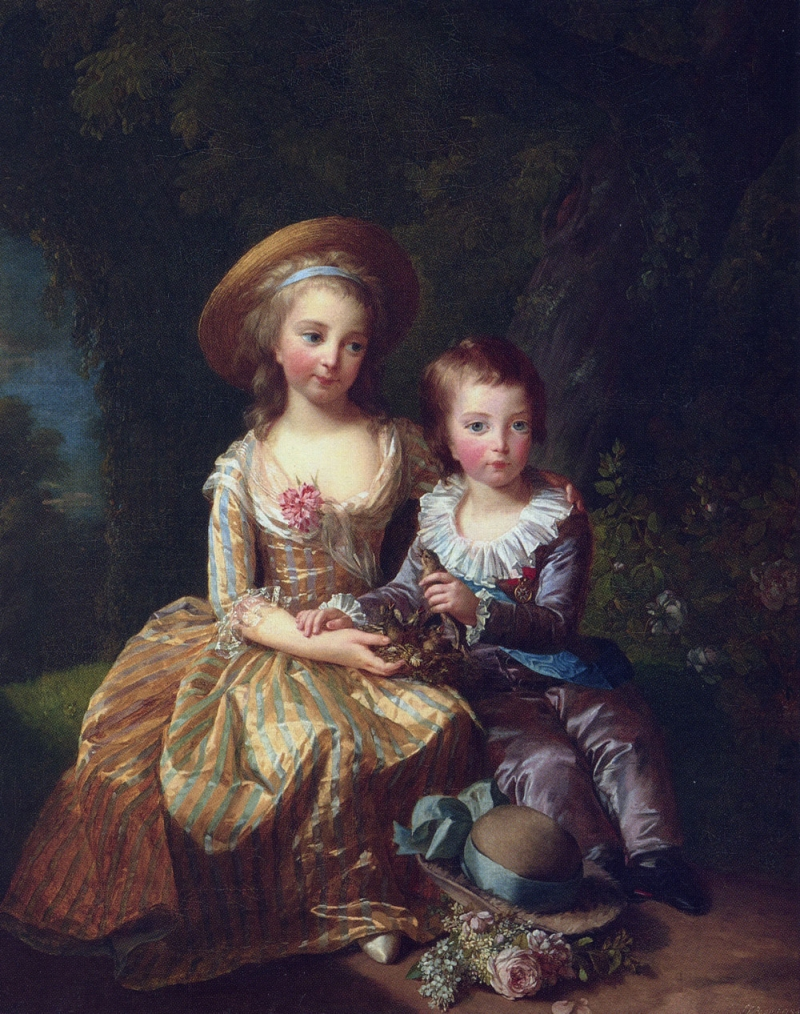 Elisabeth Louise Vigée Le Brun, Madame Royale and the Dauphin Seated in a Garden, 1784.