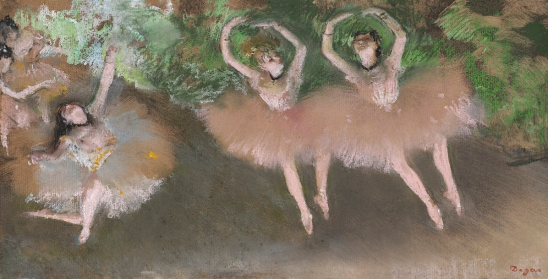 Edgar Degas, Ballet Scene, c. 1879. Pastel over monotype on paper.