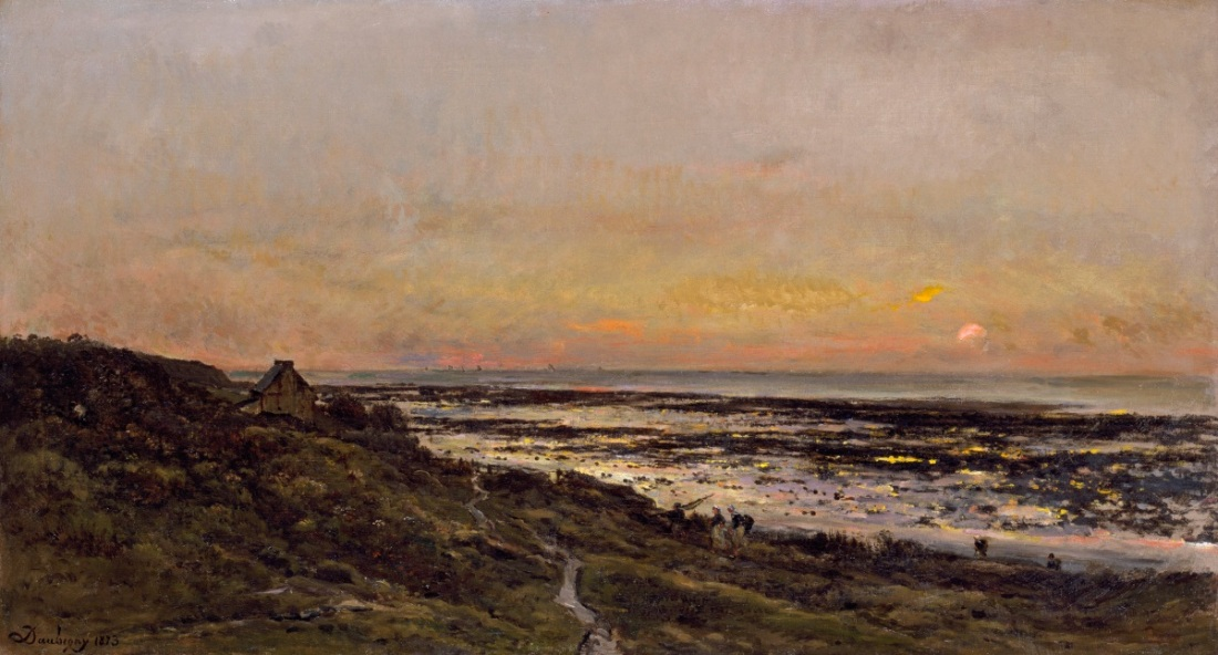 Charles-Francois Daubigny, The Beach at Villerville at Sunset, 1873.