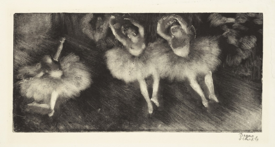 Edgar Degas, Three Ballet Dancers, c. 1878. Monotype on paper.