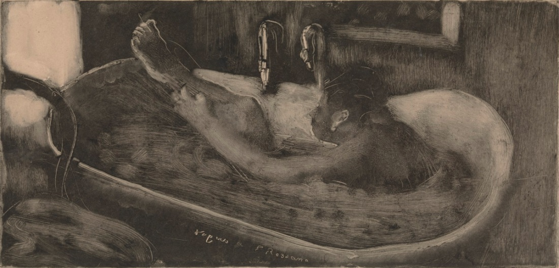 Edgar Degas, Woman in a Bathtub, c. 1880-85. Monotype on paper.