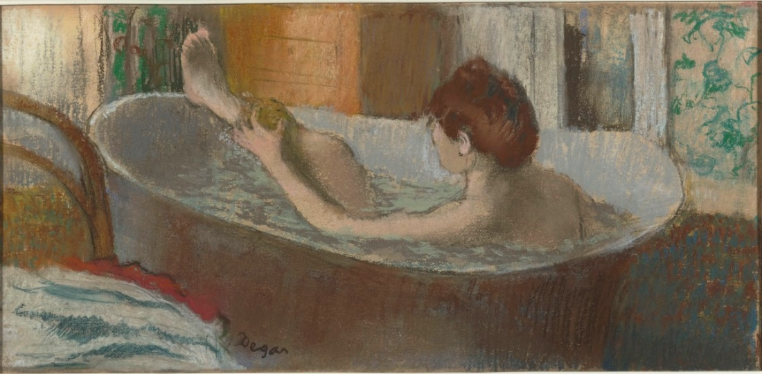 Edgar Degas, Woman in Her Bath, Sponging Her Leg, c. 1880-85. Pastel over monotype on paper.