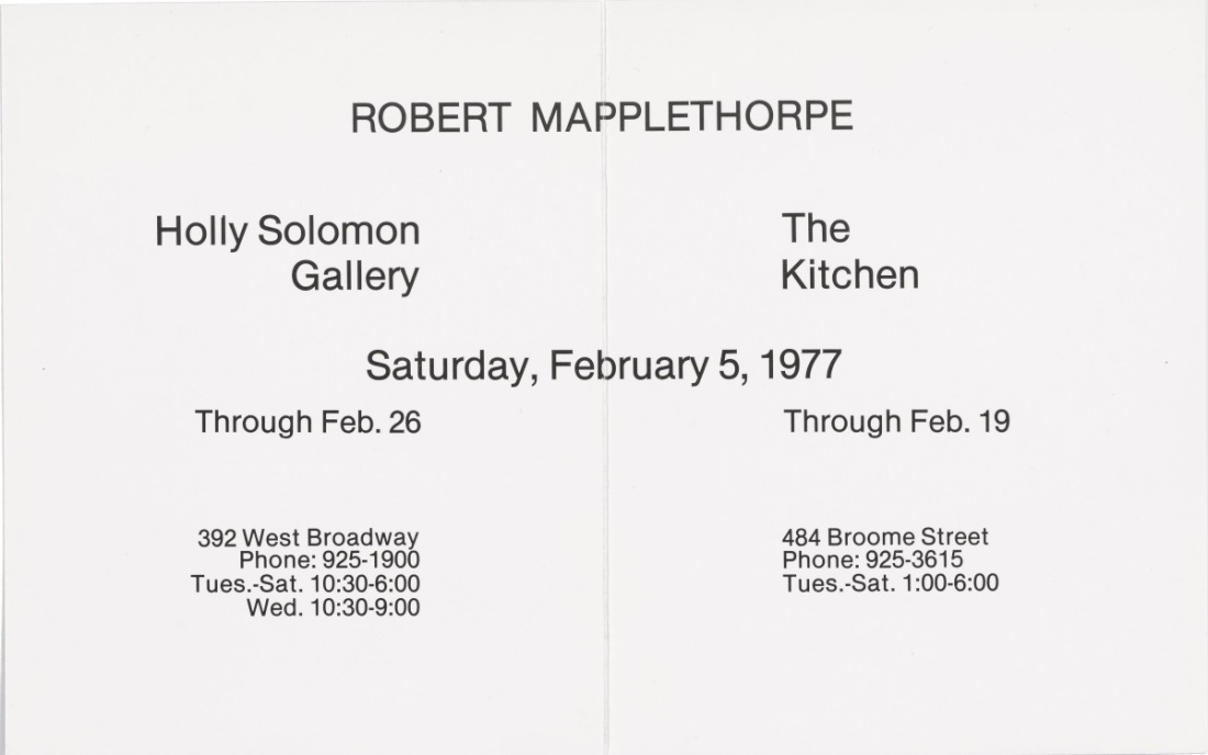 Announcement for Robert Mapplethorpe's exhibition at Holly Solomon Gallery and The Kitchen, New York, 1977.