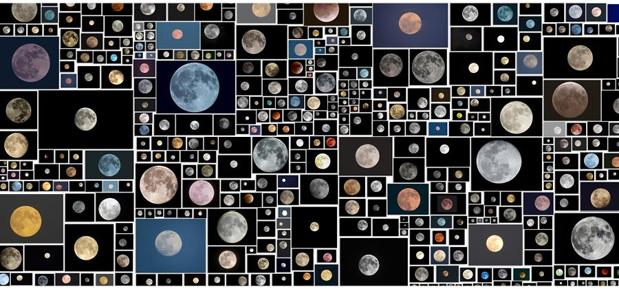 Penelope Umbrico, Everyone's Photos Any License (654 of 1,146,034 Full Moons on Flickr, November 2015), 2015.
