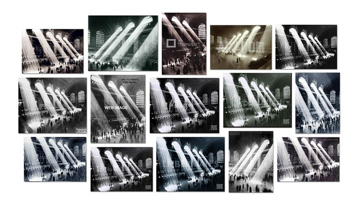 Penelope Umbrico, Four photographs of Rays of Sunlight in Grand Central Station, Grand Central Terminal, 1903-1913, 1920, 1926, 1928, 1929, 1934, 1937, 1940, 1930-1940, 1935-1941, 1947, or 2010, by John Collier, Philip Gendreau Herbert, Edward Hulton, Kurt Hulton, Edward Lunch, Maxi, Hal Morey, Henry Silberman, Warren and Wetmore Trowbridge, Underwood & Underwood, Unknown, or Anonymous (Courtesy: Associated Press, the author, Bettmann/Corbis, Hal Morey / Getty Images, Getty Images, Hulton Collection, Hulton-Getty, Hutton Collection, New York City Municipal Archives, New York Transit Museum, New York City Parks and Landmarks, Royal Geographical Society, SuperStock/Corbis, Underwood & Underwood, Warren and Wetmore, or Image in Public Domain), 2015.