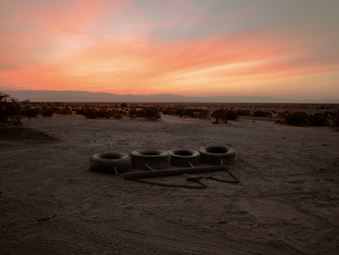 Richard Misrach, Four-tire Drag, near Calexico, California, 2014.