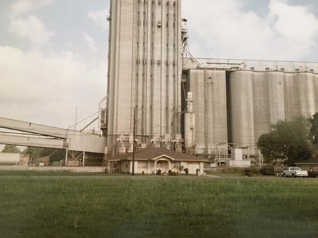 "Richard Misrach, Home and Grain Elevator, Destrehan, La, 1998 from ""Cancer Alley."""