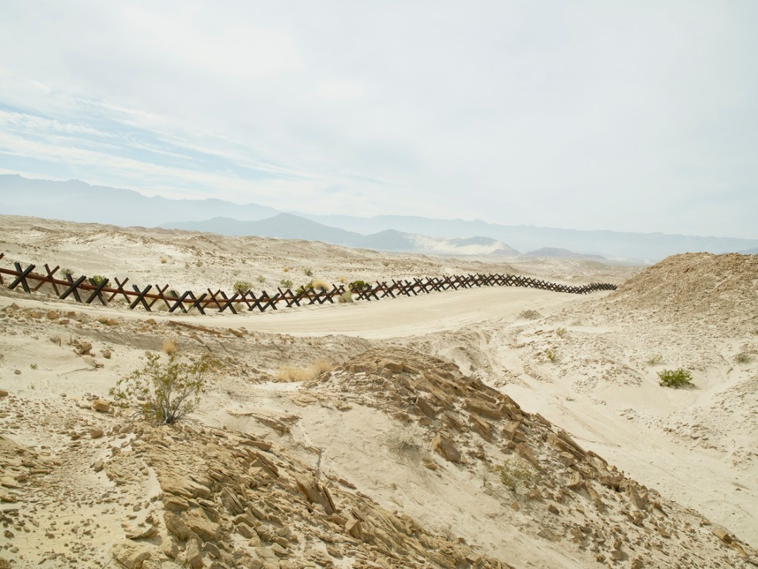 Richard Misrach, Wall (Normandy-style vehicle barrier) near Ocotillo, California, 2015.