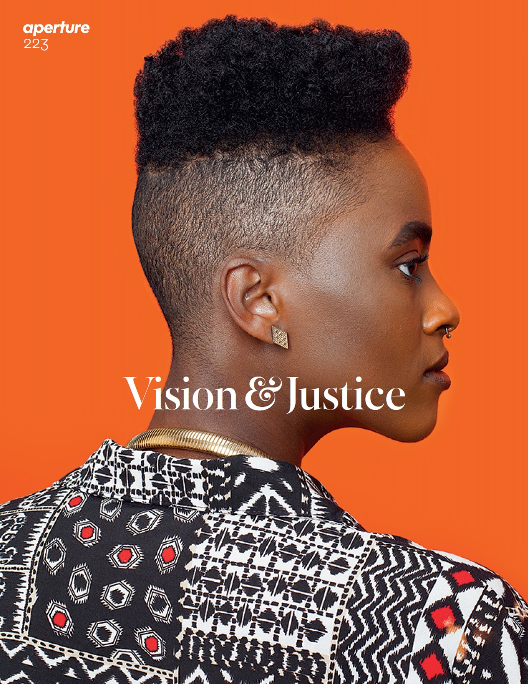 Cover of Aperture #223, Summer 2016, Vision & Justice. Photograph by Awol Erizku.