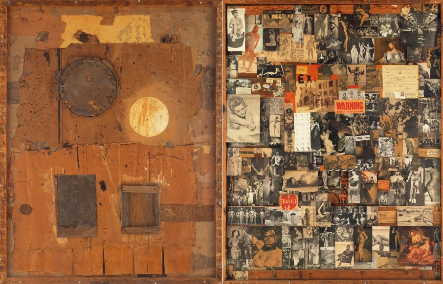 Bruce Conner, UNTITLED, 1954-61. Image on the left is the front of the piece; image on right is the rear. Zoom in on it at the Walker Art Center's website.