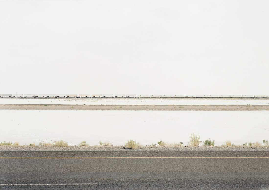 Victoria Sambunaris, Untitled, (White trains on salt flats), I-80, Great Salt Lake Desert, UT, 2002.