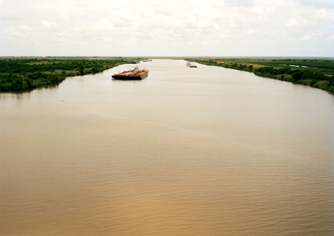 Victoria Sambunaris, Untitled (Intercoastal Waterway with red barge), Bolivar Peninsula, TX.