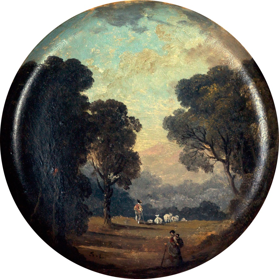 Hubert Robert, Paysage peint sur une assiette, 1794.