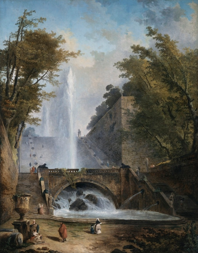 Hubert Robert, Stair and Fountain in the Park of a Roman Villa, c. 1770.
