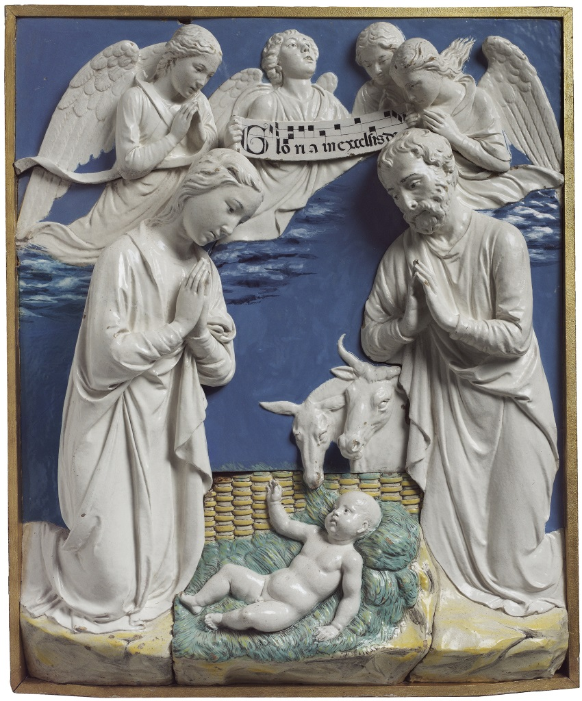 Luca della Robbia, Nativity with Gloria in Excelsis, about 1470.