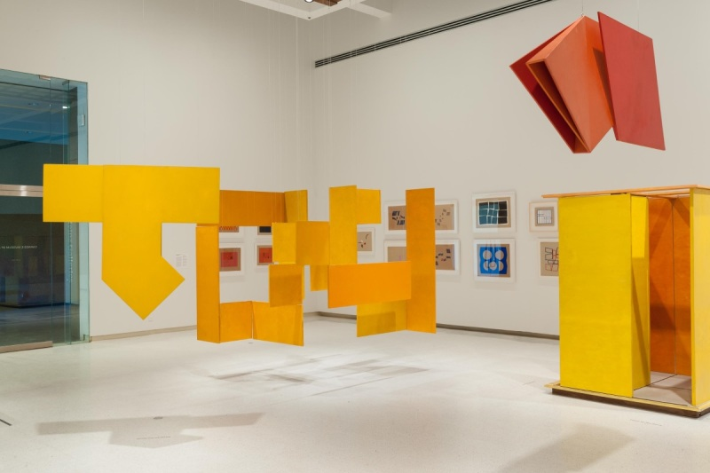 All works Hélio Oiticica. At left: P52 Spatial Relief, 1960. At center: NC6 Medium Nucleus 3, 1961-63. At upper right: Untitled, ca. 1960.