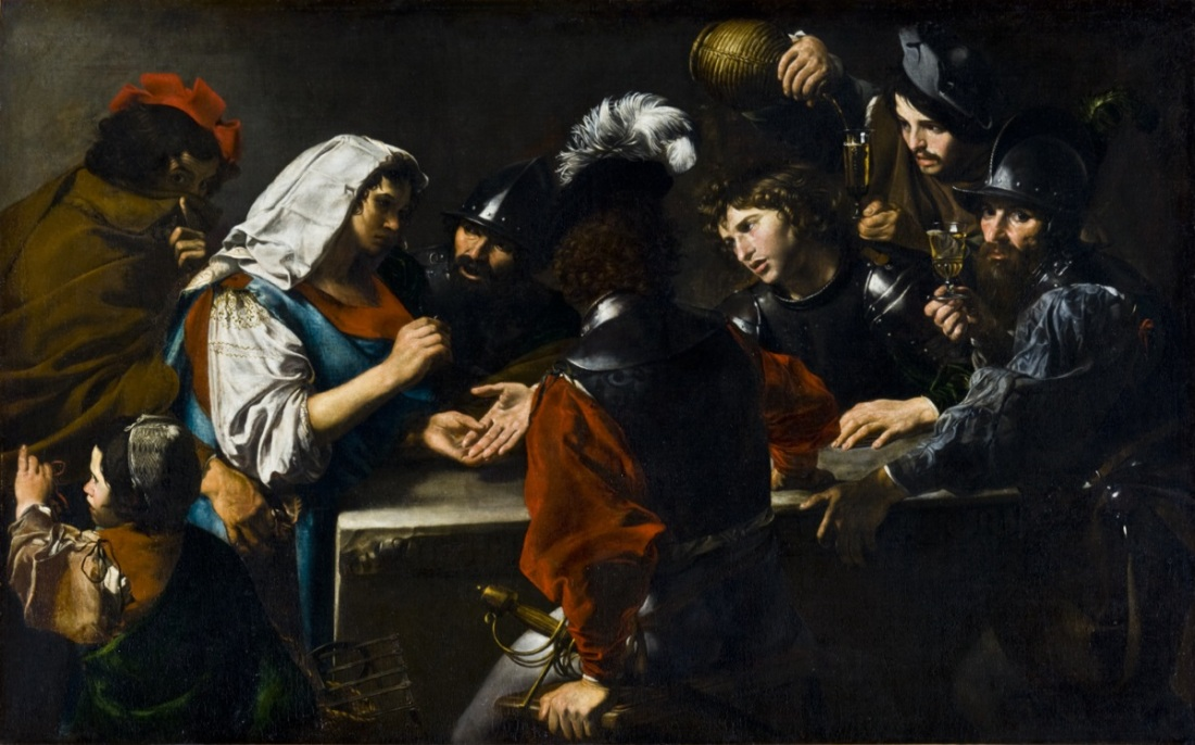 Valentin de Boulogne, Fortune-Teller with Soldiers, ca. 1618-20.